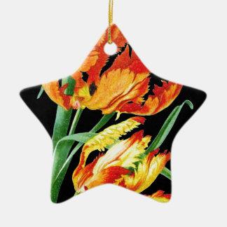 Ornement Étoile En Céramique Tulipes de perroquet sur le noir