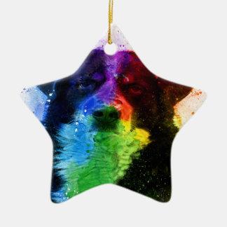 Ornement Étoile En Céramique Un plus grand bloc de couleur de chien de montagne