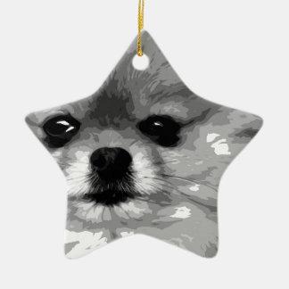 Ornement Étoile En Céramique Un Pomeranian noir et blanc