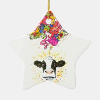 Ornement Étoile En Céramique Vache psychédélique