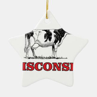 Ornement Étoile En Céramique vache rouge au Wisconsin