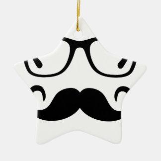 Ornement Étoile En Céramique Verres de hippie et moustache de guidon