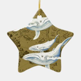 Ornement Étoile En Céramique Vert olive de famille de baleines bleues