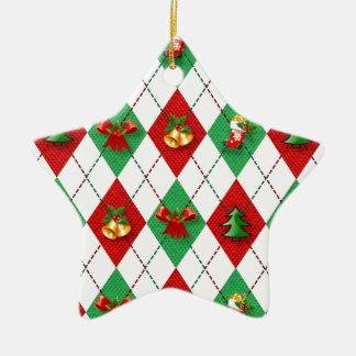 Ornement Étoile En Céramique vert rouge de nouvelle conception de Noël