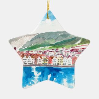 Ornement Étoile En Céramique Vieux Bryggen bord de mer de port de Bergen