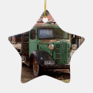 Ornement Étoile En Céramique Vieux camion vert