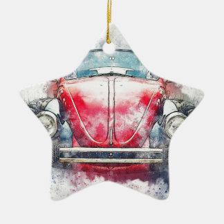 Ornement Étoile En Céramique Vieux cru d'aquarelle d'abrégé sur art de voiture