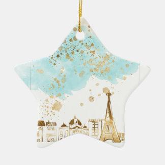 Ornement Étoile En Céramique Ville de Noël d'or avec les nuages et les parties