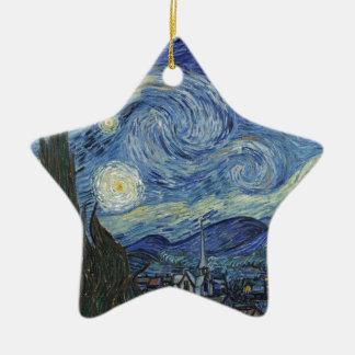 Ornement Étoile En Céramique Vincent van Gogh | la nuit étoilée, juin 1889