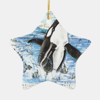 Ornement Étoile En Céramique Violation de la carte antique d'orque