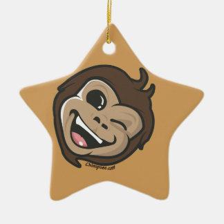 Ornement Étoile En Céramique Visage adorable de singe mignon de Chimpsee