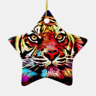 Ornement Étoile En Céramique Visage de tigre