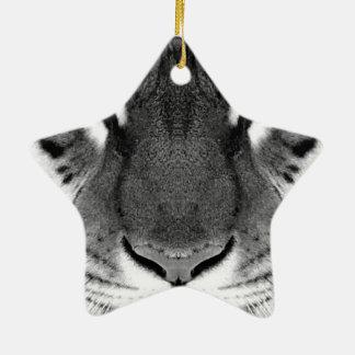 Ornement Étoile En Céramique Visage de tigre - tigre blanc - tigre de yeux -