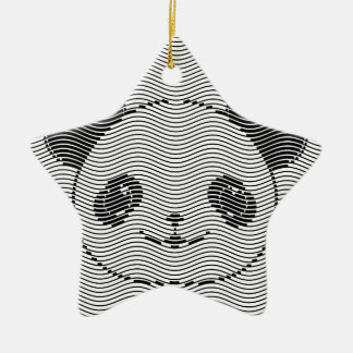 Ornement Étoile En Céramique Visage d'ours panda sur le motif de vague