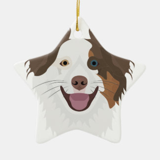 Ornement Étoile En Céramique Visage heureux border collie de chiens
