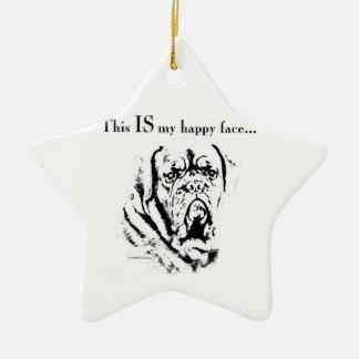 Ornement Étoile En Céramique Visage heureux de Dogue