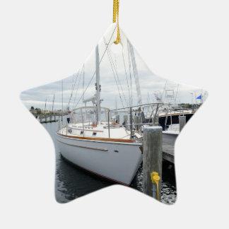 Ornement Étoile En Céramique Voilier dans le port