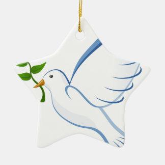 Ornement Étoile En Céramique Vol de colombe de blanc