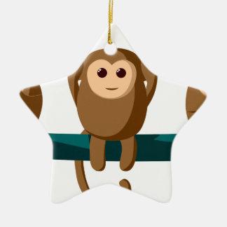 Ornement Étoile En Céramique Voyez pour entendre pour parler des singes