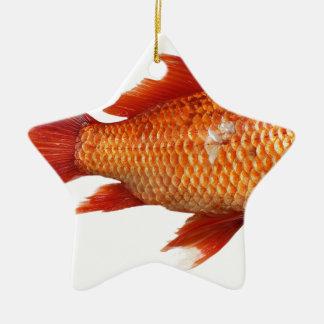 Ornement Étoile En Céramique Vrai poisson rouge
