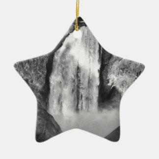 Ornement Étoile En Céramique Yellowstone supérieur tombe en noir et blanc