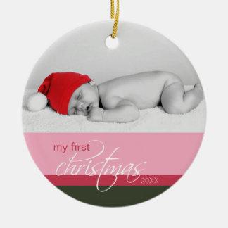 Ornement fait sur commande de ęr Noël du bébé ros
