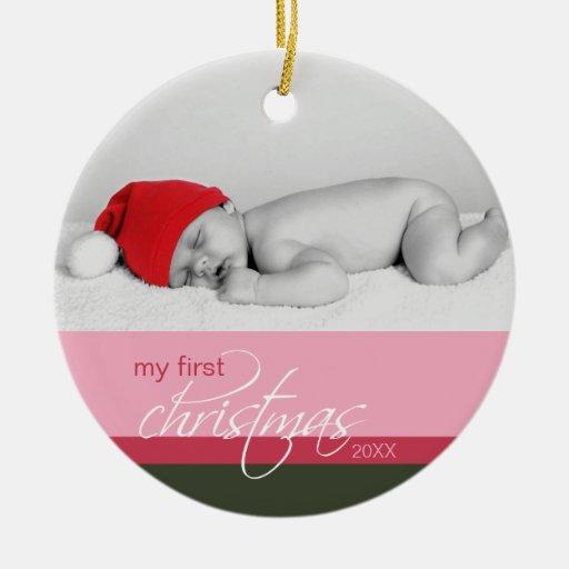 Ornement fait sur commande de ęr Noël du bébé (ros
