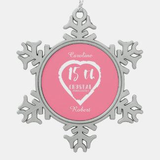 Ornement Flocon De Neige 15ème Cristal traditionnel d'anniversaire de