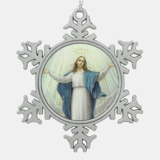 Ornement Flocon De Neige Acceptation de Vierge Marie béni