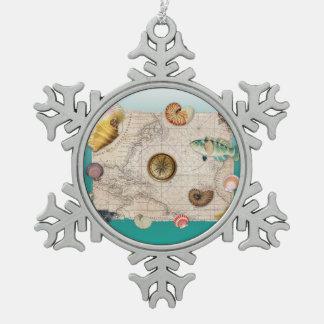 Ornement Flocon De Neige Aigue-marine marine de collage