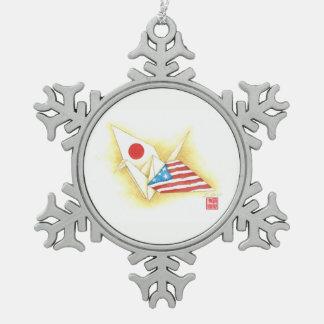 Ornement Flocon De Neige Amitié Japon-États-Unis de ~ d'ornement de flocon