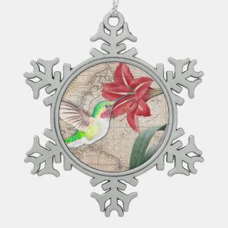 Ornement Flocon De Neige Ammaryllis de carte de Hummer II