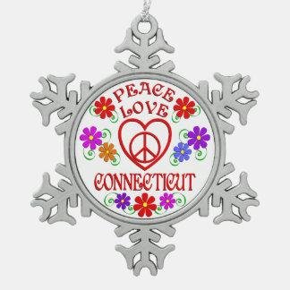 Ornement Flocon De Neige Amour Conecticut de paix