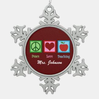 Ornement Flocon De Neige Amour de paix enseignant le professeur fait sur