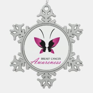 Ornement Flocon De Neige Appui de conscience de cancer du sein