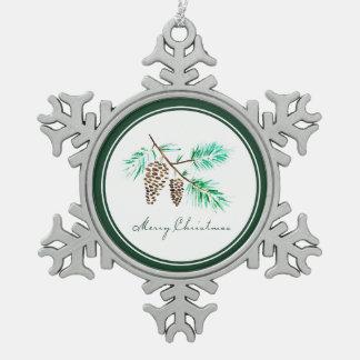Ornement Flocon De Neige Aquarelle de Noël | - citation de fête de
