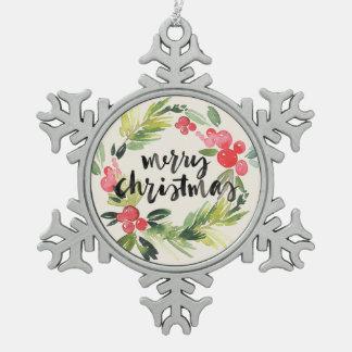 Ornement Flocon De Neige Aquarelle de Noël | - guirlande de Joyeux Noël