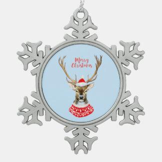 Ornement Flocon De Neige Aquarelle de Noël | - renne bleu de Père Noël