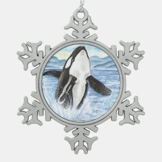 Ornement Flocon De Neige Aquarelle ouvrant une brèche la baleine d'orque