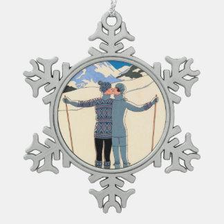 Ornement Flocon De Neige Art déco vintage, amants dans la neige par George