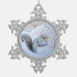 Ornement Flocon De Neige art gris mignon de faune de scène de neige