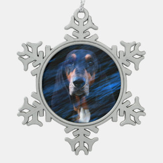 Ornement Flocon De Neige Basset Hound tricolore abstrait