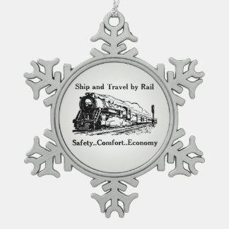 Ornement Flocon De Neige Bateau vintage et voyage par chemin de fer