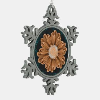 Ornement Flocon De Neige Beau chrysanthème de paradis d'orange et d'Aqua
