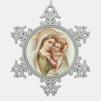 Ornement Flocon De Neige Bébé béni Jésus de mère de Vierge Marie