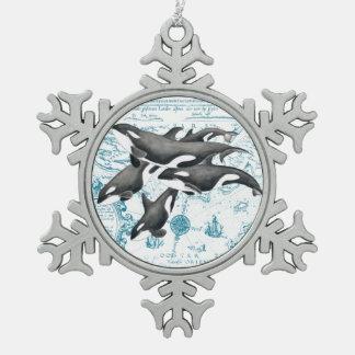 Ornement Flocon De Neige Bleu antique de famille de baleines d'orque