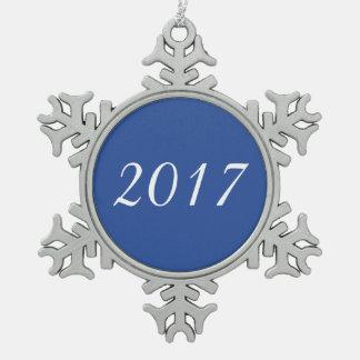 Ornement Flocon De Neige Bleu personnalisable fait sur commande de 2017 ans