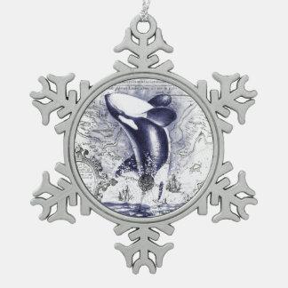 Ornement Flocon De Neige Bleu vintage de carte de baleine d'orque