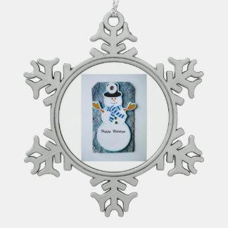 Ornement Flocon De Neige Bonhomme de neige de flocons de neige d'étain
