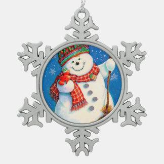 Ornement Flocon De Neige Bonhomme de neige heureux